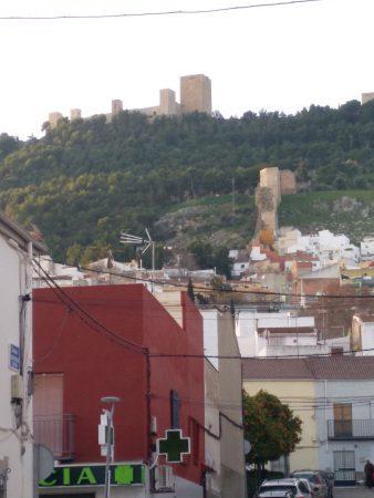 Castillo visto desde la ciudad. Tiene varias torres, la mayor a la derecha. Se ve bastante bosque alrededor
