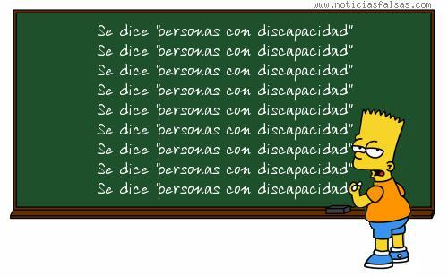 """Bart Simpson escribe varias veces la frase """"se dice personas con discapacidad"""""""