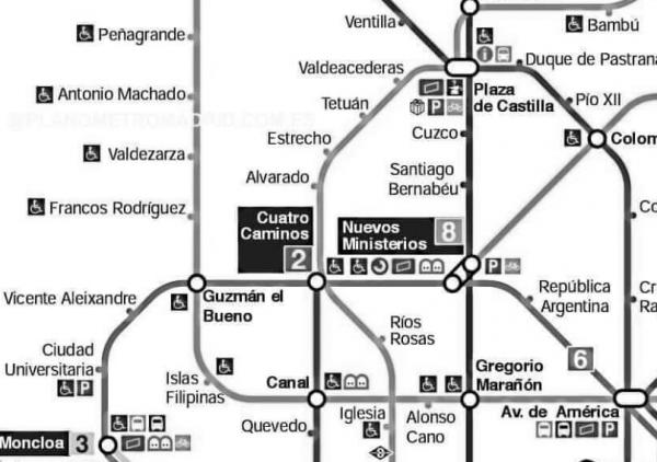 fragmento plano metro madrid grises