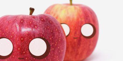 manzanas con ojos
