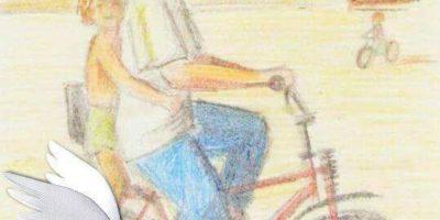 dibujo de mamá con Olga en bici