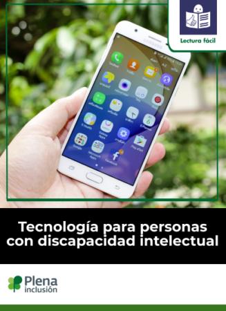 logo lectura fácil mano con móvil Tecnología para personas con discapacidad intelectual logo Plena inclusión