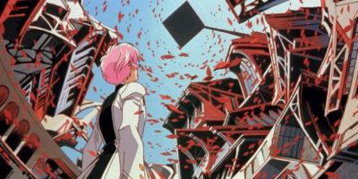 Utena con el pelo corto mira a una plataforma en el cielo mientras caen pétalos de rosas